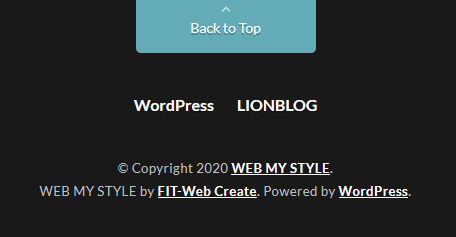 LIONBLOGでコピーライト下の「by FIT-Web Create. Powered by WordPress. 」を非表示にする方法